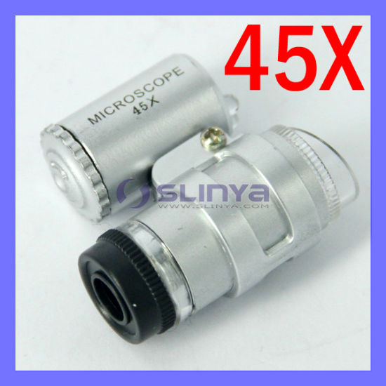 45X 2 LED Mini Portable Microscope Magnifier Jeweler Loupe (SL-106) pictures & photos