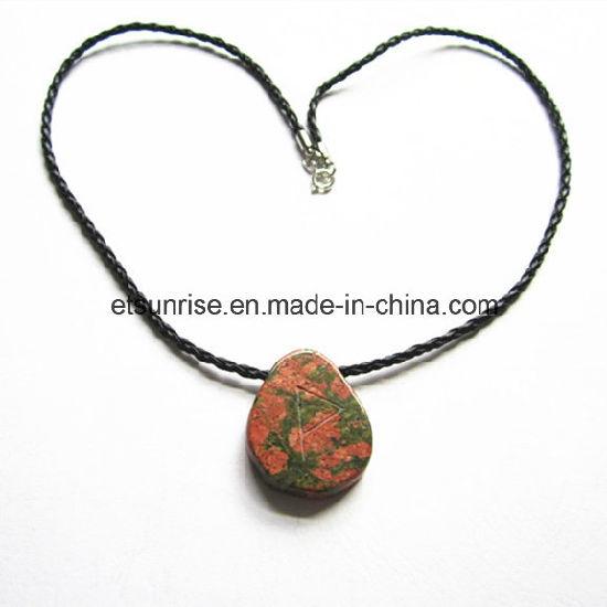 Semi Precious Stone Fashion Natural Crystal Unakite Necklace