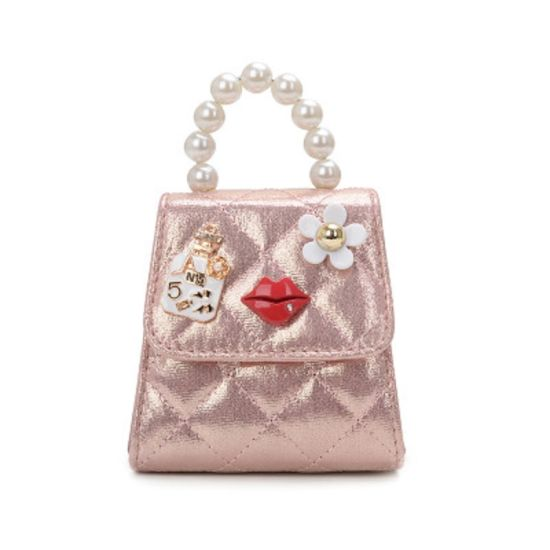 Fashion Kids Mini Bag Pearl Top Handle Quilted Crossbody Hand Tote Shoulder Messenger Bag Esg13570