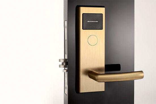 Stainless Steel Golden Color Electronic Keyless Mortise Smart Hotel Door Lock