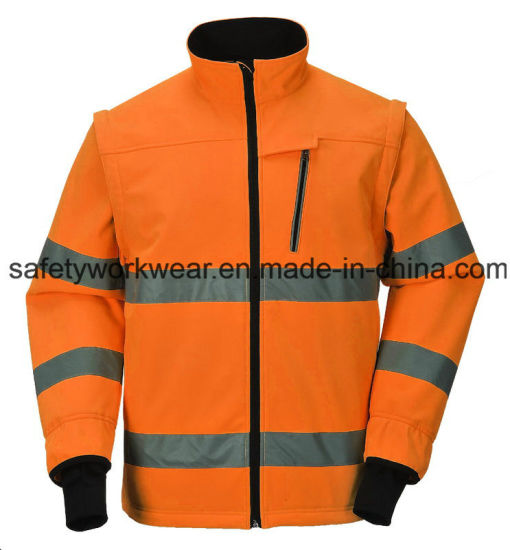 Mens Work Wear High Visibility Clothing Safety Softshell Jacket