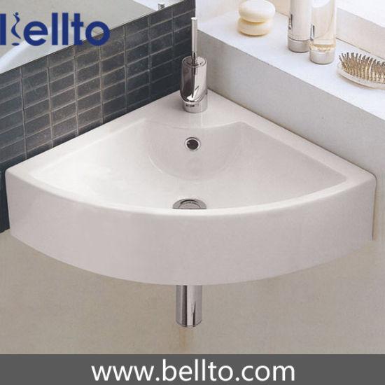 Ceramic Corner Wash Sink/Wall Hung Basin for Bathroom (3502)