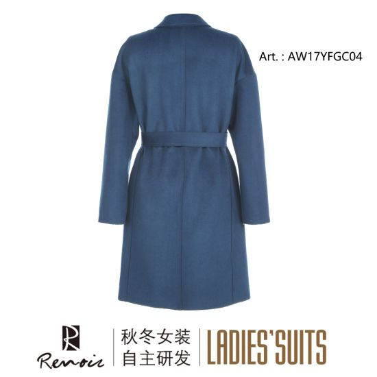 OEM Blue Woolen Winter Women′s Dust Coat pictures & photos