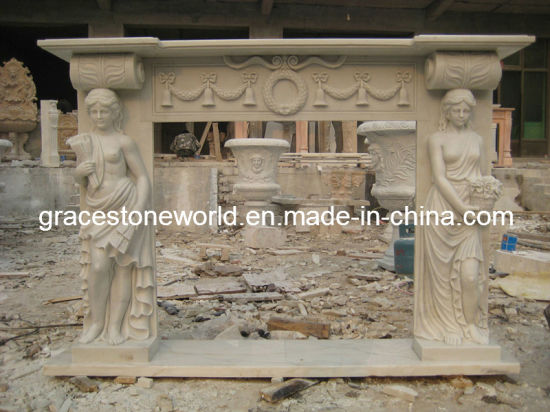 Carved Stone Statue Fireplace Marble Mantel