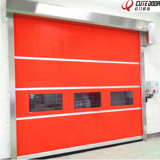 Automatic PVC Rapid High Speed Shutter Door Stainless Steel Frame
