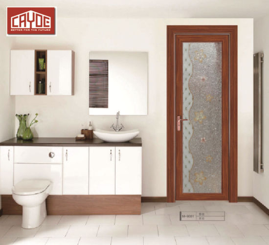 China Modern Flush Design Interior Bathroom Door With Frosted Glass