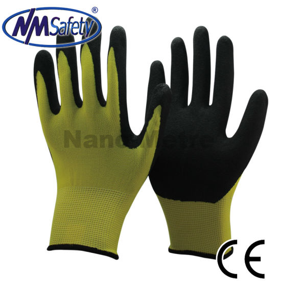 Nmsafety 13G Nylon Coated Sandy Nitrile Anti-Slip Work Glove pictures & photos