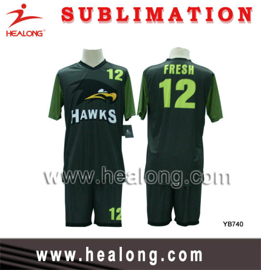 Healong Full Sublimation Royal Green And Black Customized Design Soccer Set Football Set China Football Jersey And Football Uniform Price Made In China Com