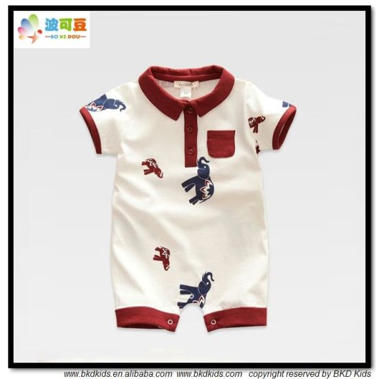 Gots Baby Garment Polo-Neck Baby Rompers