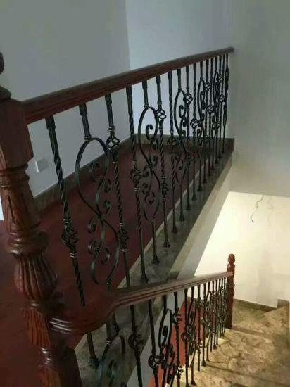 Staircase Handrail With Wrought Iron Handrailing Post