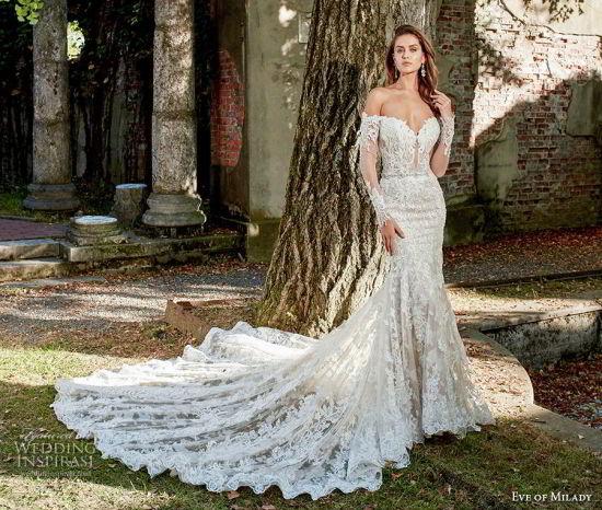 China Long Sleeves Bridal Gowns Lace Custom Mermaid Wedding