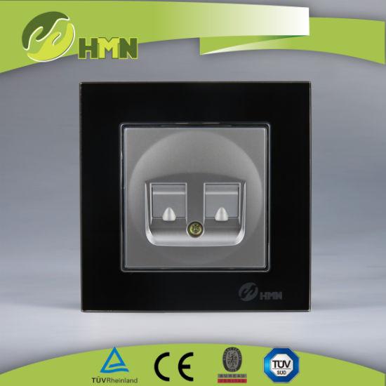 TUV CE CB European standard certified toughened glass BLACK DOUBLE DATA socket
