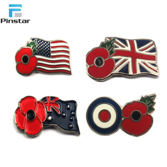 Metal Sale Poppy Flower Remembrance Day Poppy Lapel Badge