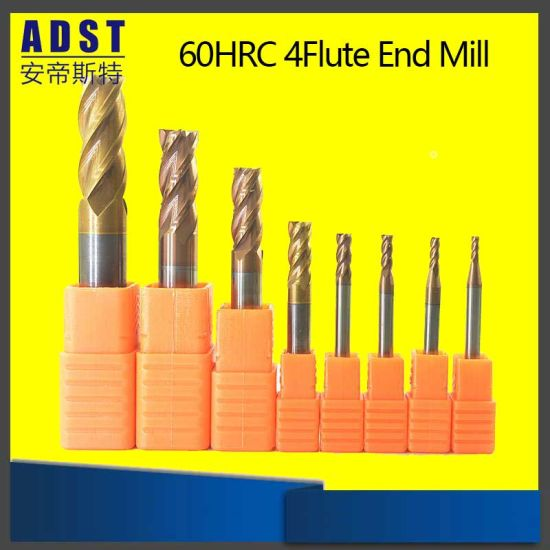 HRC65 4-Flute Longer Milling Cutter Tungsten Alloy Square End Mill D4mm-12mm CNC