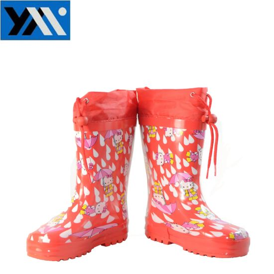 High Quality Waterproof Natural Rubber Kids Boots with Cartoon Patterns pictures & photos