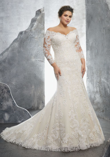 China 34 Sleeves Bridal Dress Lace Appliqued Plus Size Wedding Gown