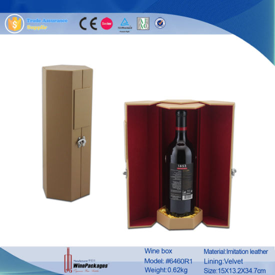Cylindrical PU Leather Single Wine Bottle (6460) pictures & photos