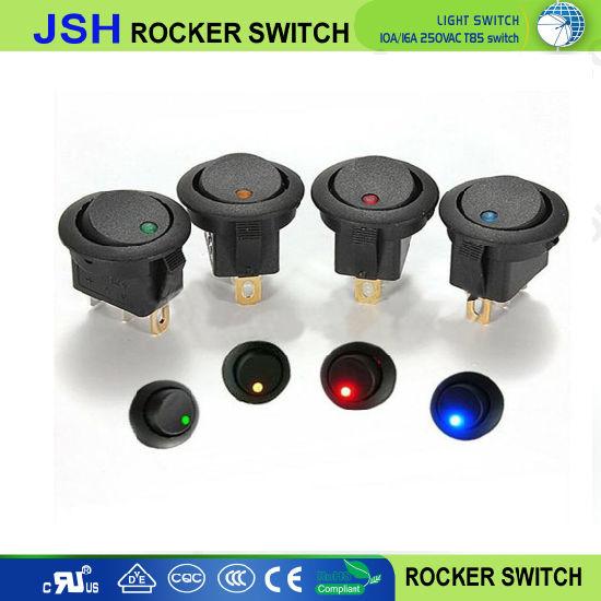 5X 12V Round Rocker ON//OFF Toggle SPST Switch LED Red Dot Light Car Auto Boat