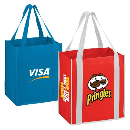 Non-Woven Blue and Red Large Shopping Bag