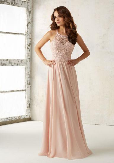 Pink Embroidery Beading Chiffon A Line Bridesmaid Dress