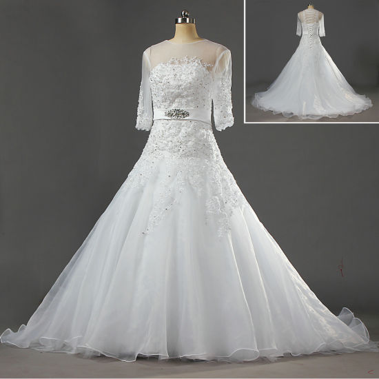 W207 Affordable White Lace Organza Princess Wedding Gown With Sleeves