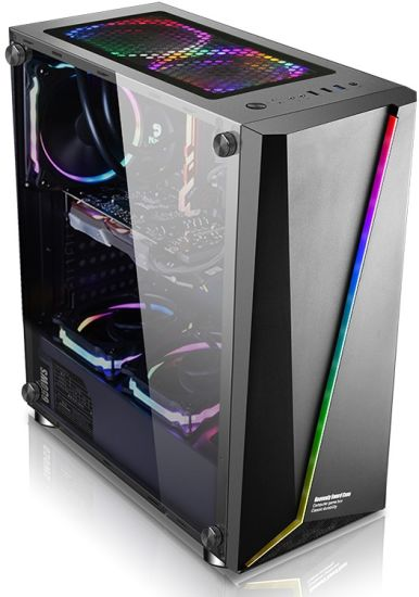 China Hot Sale Atx Gaming Computer Pc Case With Rgb Light Strip