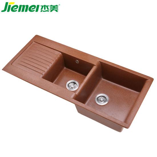 Rectangular Double Bowl Quartz Stone Kitchen Sink with Drainboard
