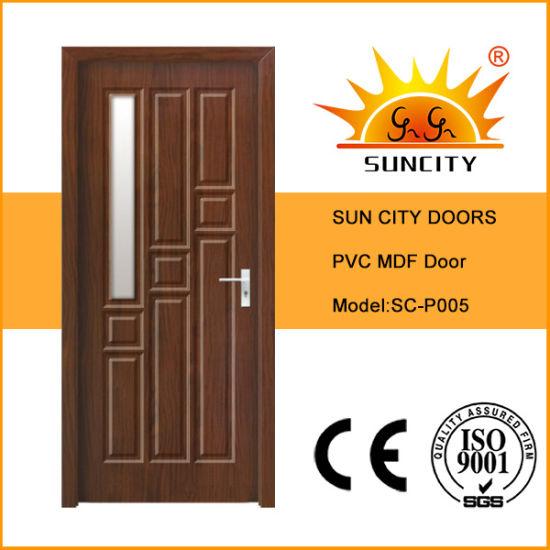 Brown Primer Wooden Veneer PVC Bathroom Melamine Doors Internal