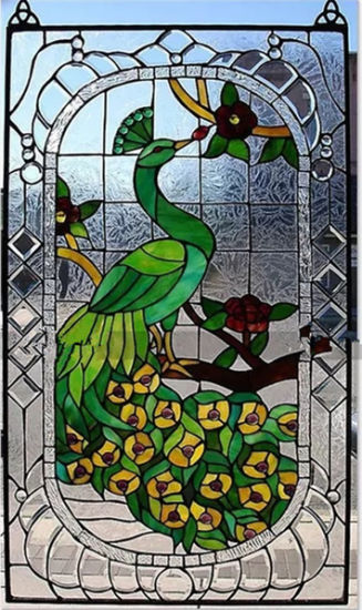 Handmade Peacock Butterfly Design Tiffany Stained Glass Window Panel