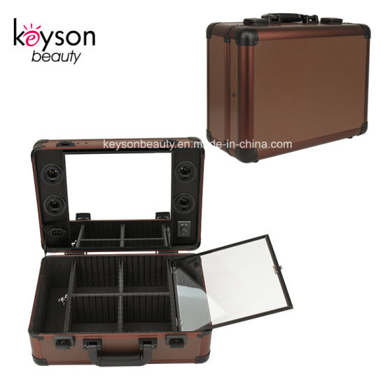 Keyson Professional Aluminum Portable Makeup Artist Case Box with Lights Mirror