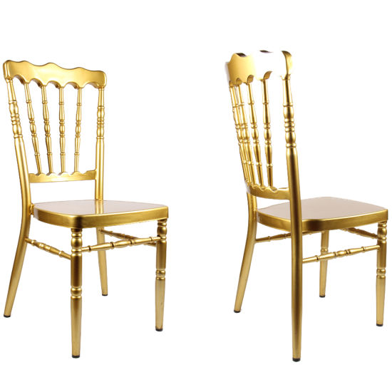China Wholesale Gold Paint Stacking Wedding Napoleon Chair Hm