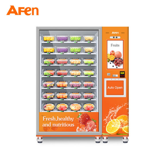 Afen 2021 New Self Service Refrigerated Healthy Salad Fruits Fresh Food Vending Machine with Lift System