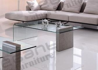 Single Seat Glass Sofa with Grey Fabric Seat pictures & photos