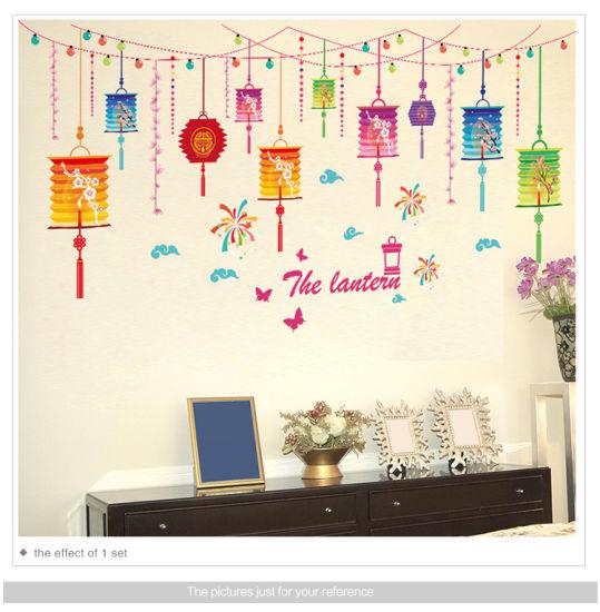 pvc chinese new year wallpaper colored lantern wall sticker - china