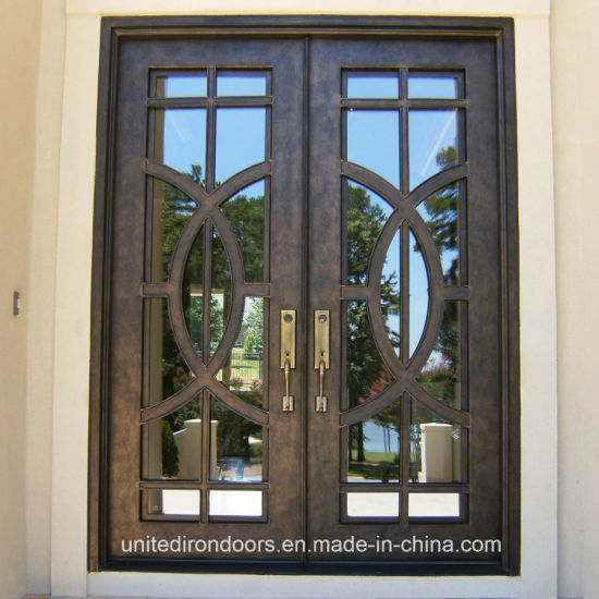 China Modern Double Wrought Iron Entrance Door Uid D081 China