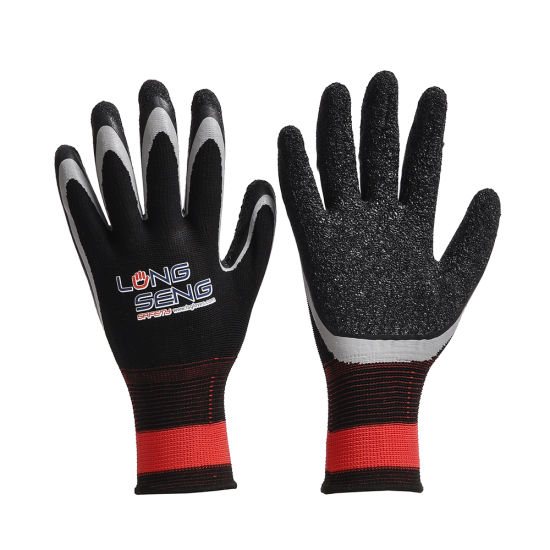 New Design Latest Technology Double Crinkle Latex Coated Safety Glove