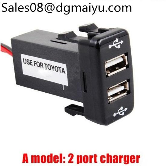 Car Charger Dual USB Audio Data Transmission for Phone iPad 2 Port Socket Lamp Switch for Toyota Prado Camry RAV4