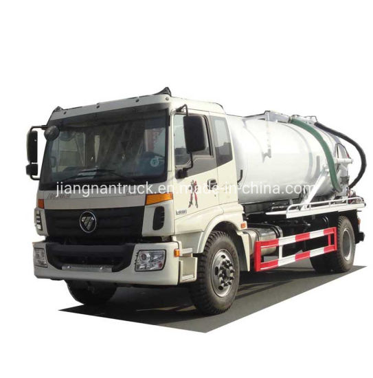 Foton Vacuum Sewage Suction Truck 12000 Liters Septic Tank Sewer Cleaning Sludge Tank Fecal Waste Water Suction High Pressure Jetting Truck