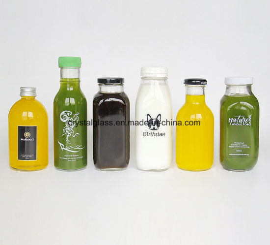 10oz 16oz French Square Glass Beverage Bottle with Plastic Cap 300ml 500ml pictures & photos
