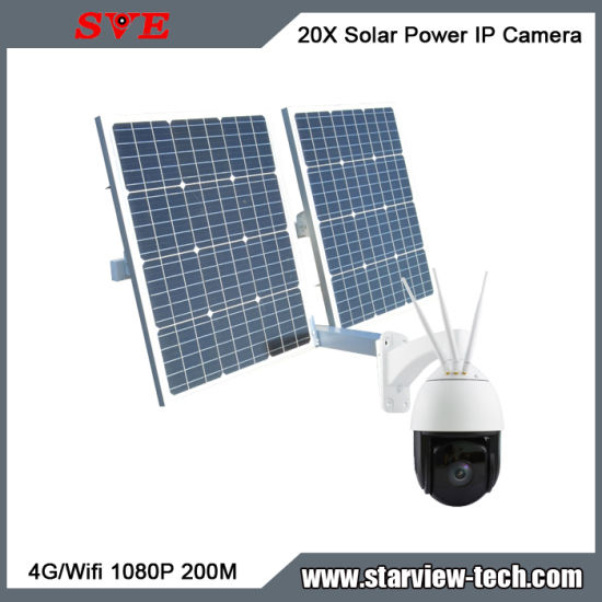 Solar Power Outdoor WiFi/4G 20X 1080P 200m IP Camera