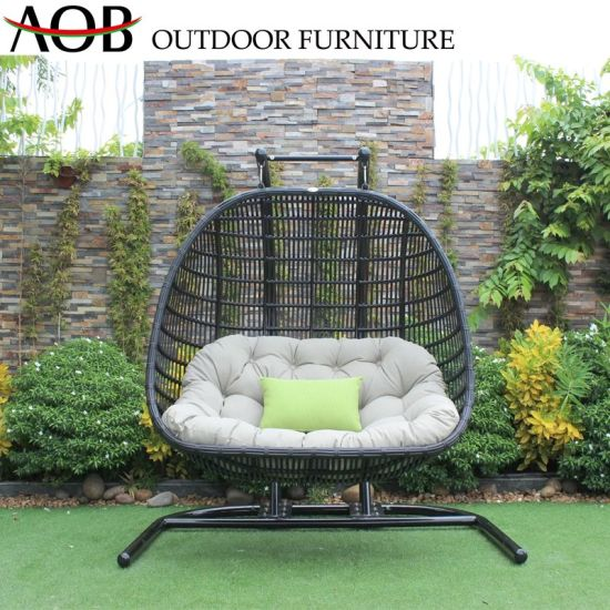 China Modern Outdoor Garden Rattan Swing Set Hanging Double Chair China Garden Sets Home Furniture Set