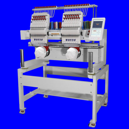 Industrial High Speed 2 Head 9-12-15 Colors Computerized Clothes Cap Embroidery Machine Price