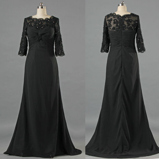 Formal Lace Long Sleeve Evening Gown Chiffon Groom Mother Dress E234