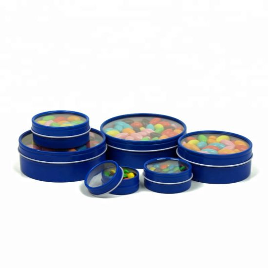 2oz / 3oz /4oz / 8oz Round Seamless Mint Tin Box with Plastic Lid