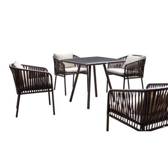 Black Rattan Leisure Table Set Outdoor Garden Dining Wicker Furniture pictures & photos
