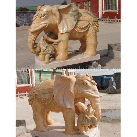 Stone Sculpture Animal Marble Elephant Sculpture for Decoration