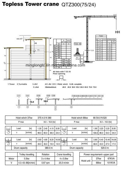 Qtz300 (TC7524) Flat Top Tower Crane-16t