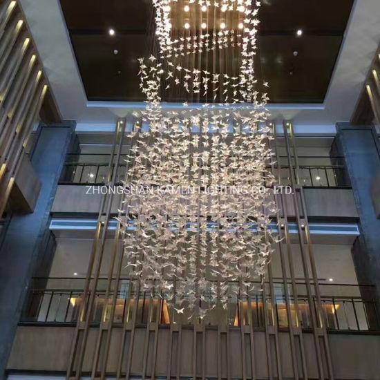Simple Leaf-Shaped Lighting Custom Hotel Lobby Art Chandelier (km1042)