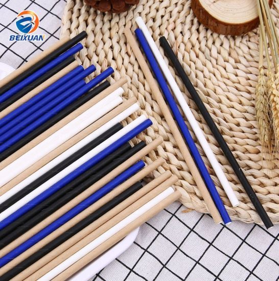 Factory Supply Biodegradable Disposable Pure Paper Straw pictures & photos