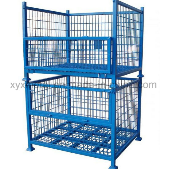 Warehouse Storage Folding Stackable Steel Wire Mesh Metal Container Bin